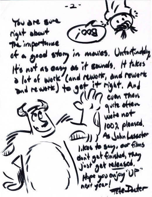 Pete Docter's letter to a fan