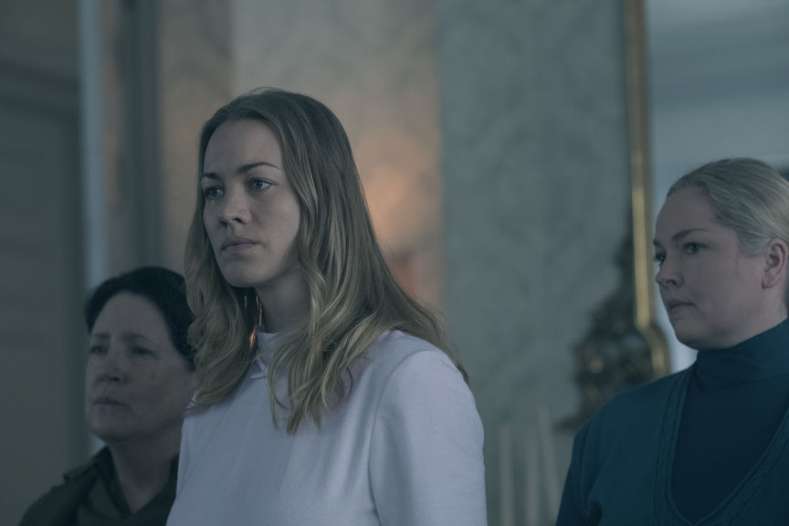 """The Handmaid's Tale -- """"The Last Ceremony"""" - Episode 210 -  A frustrated Serena becomes desperate. The Commander tries to make amends with Offred. Nick pushes Eden farther away. Offred is faced with an unexpected reunion.  Aunt Lydia (Ann Dowd) and Serena Joy (Yvonne Strahovski), shown.  (Photo by: George Kraychyk/Hulu)"""