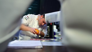 Spanish chief Juan Manuel Salgado competes during the biennial world chef championship Bocuse d'Or at the HUNEXPO Fair Center in Budapest, Hungary on May 10, 2016.